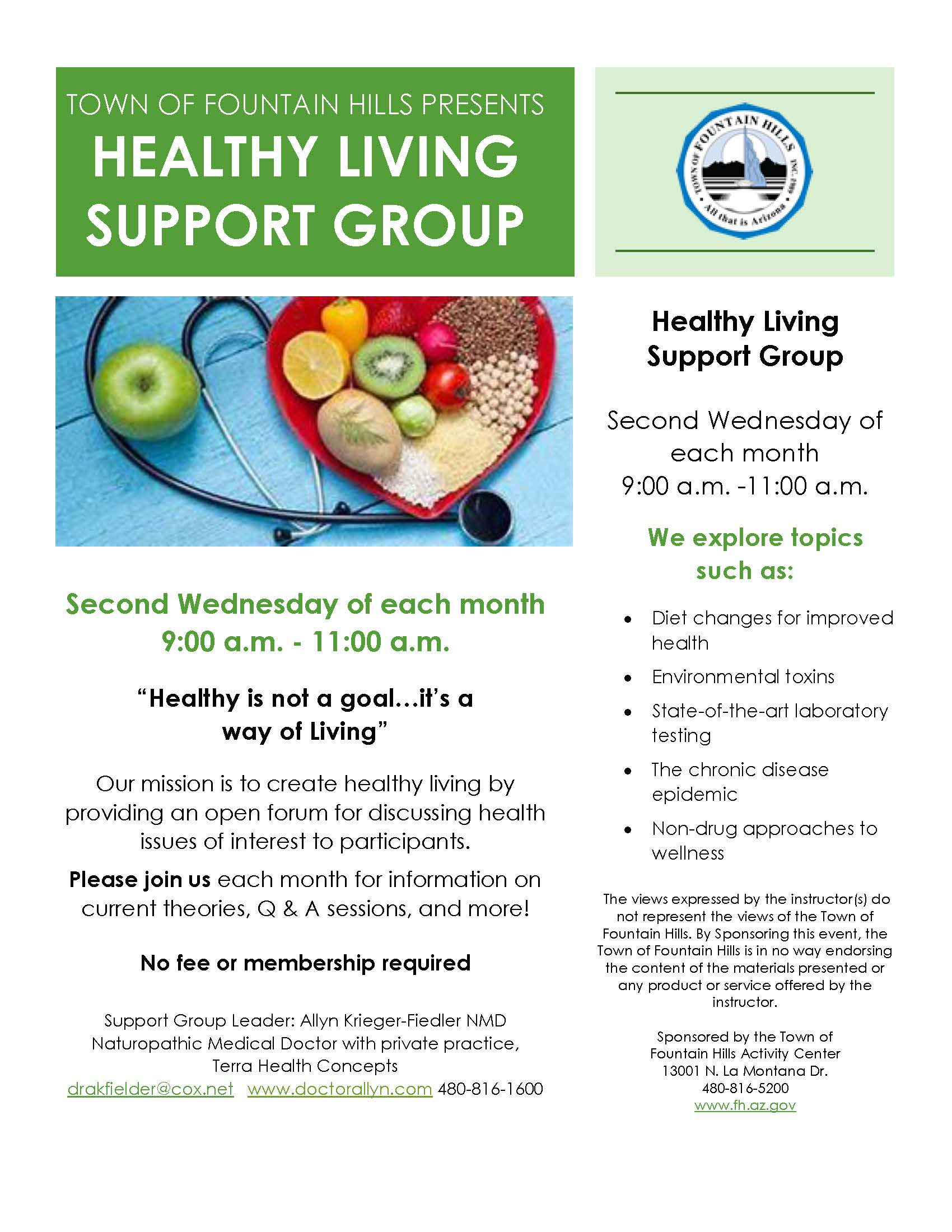 Healthy Living Support Group Flyer